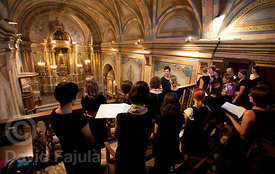 Grudnove Šmikle Choir (Železniki) singing in Virgin of Els Munts Sanctuary (Santuari de la Mare de Déu dels Munts)