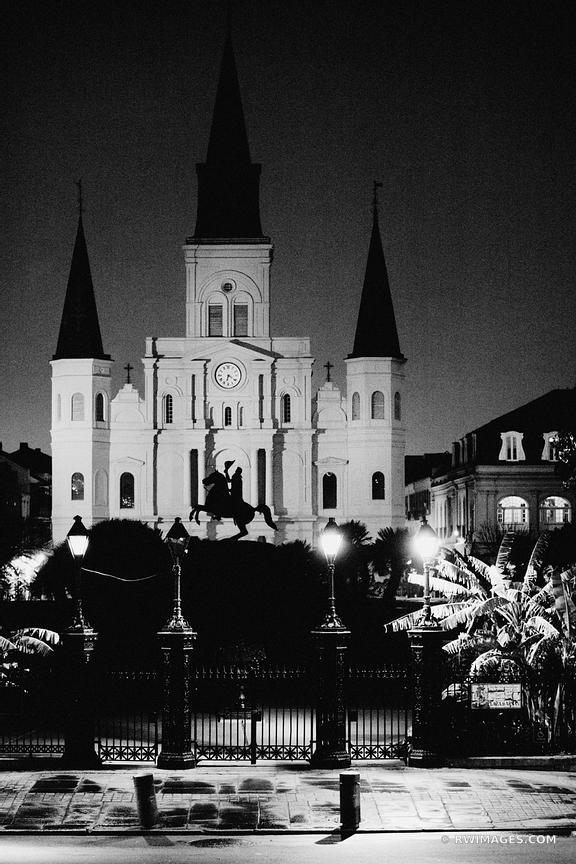 ST. LOUIS CATHEDRAL AT NIGHT NEW ORLEANS BLACK AND WHITE VERTICAL