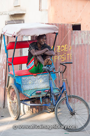 Pousse-pousse is the main transport in Toliara, Madagascar