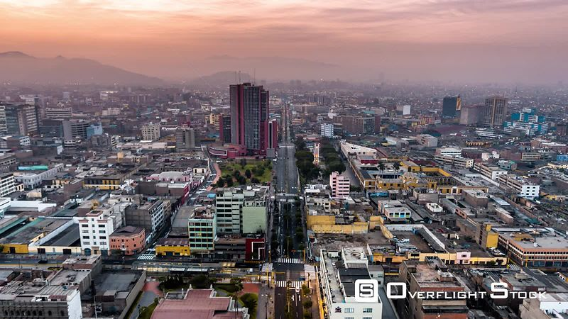 Aerial view of Lima downtown, sunrise, Peru