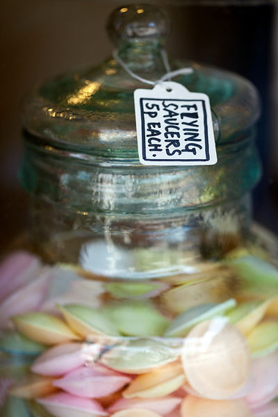 UK - London - Details of a jar of traditional sweets in the window of A. Gold, a deli in Spitalfields Market