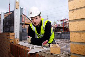 Taylor Wimpey, Broomhouse, Glasgow..2.3.15.Apprentice bricklayer Jamie Barr at the TW site...Free PR use for Taylor Wimpey..M...