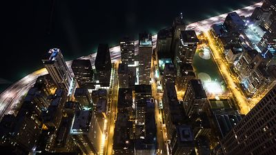 Bird's Eye: Wide Shot - Bottomed Out Over The Edge of Lake Michigan, Homes of Lake Shore Drive