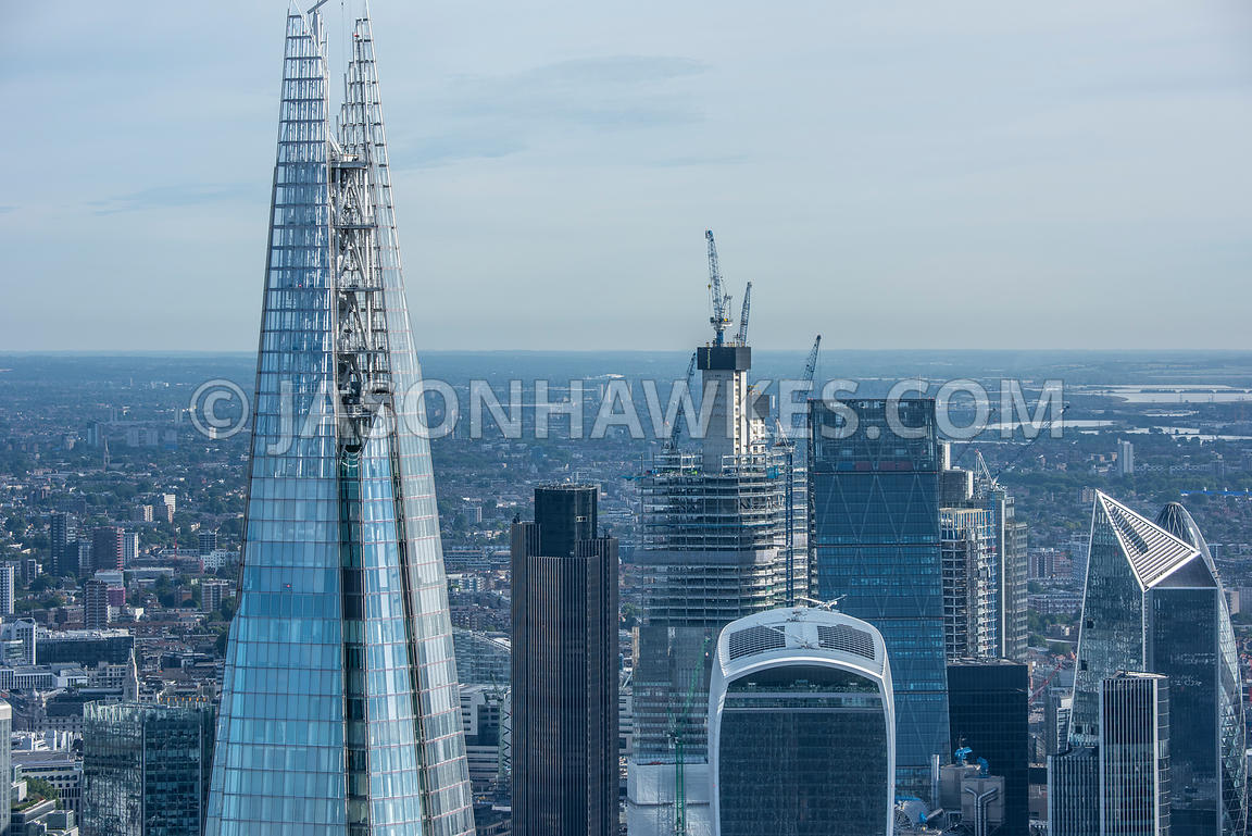 London, aerial view of the Shard