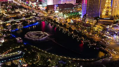 Bird's Eye: Bellagio Fountains Doing What They Do Best, At Night