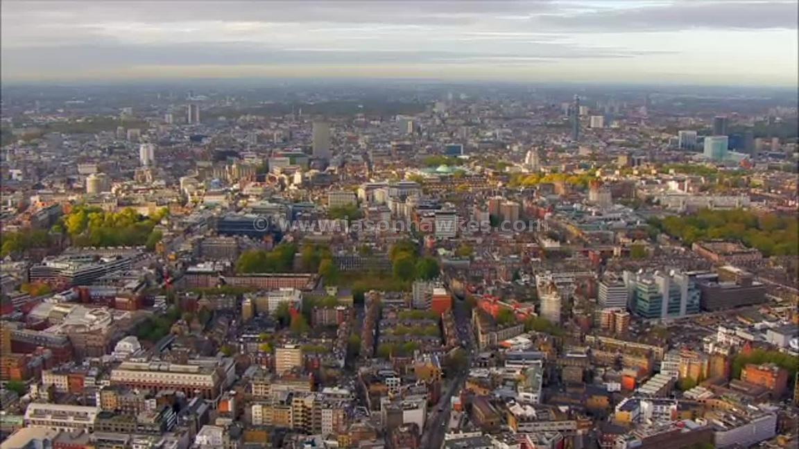 Aerial footage over Bloomsbury, London