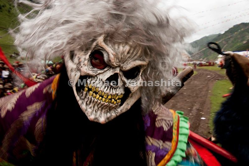 Halloween-masked monks portray the enemies of Tibet. Evil demons and monsters are depicted as skeletons.