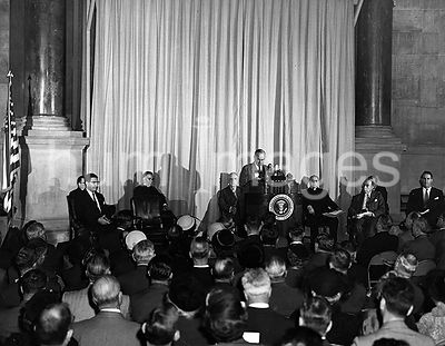 Photograph of President Harry S Truman Delivering the Principal Address at the Unveiling Ceremony 12 13 1952