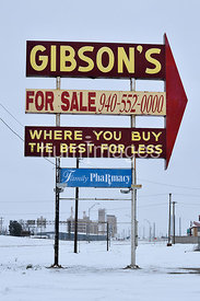 Gibson's Department Store sign in Vernon, Texas in winter