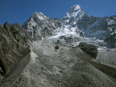 NEPAL Mount Ama Dablam -- 16 Apr 2005 -- Aerial view of the huge Duwo Glacier, dominated by the two peaks of Amphu   Gyabien ...
