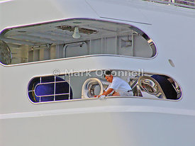 Polishing aboard Rising Sun
