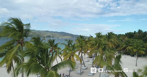 Small Caribbean island with palm trees. Flight forward over palm trees. Callo Levantado, Samana, Dominican Republic