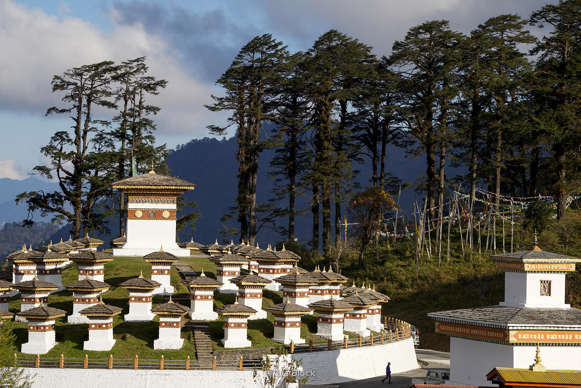 108 stupas built by the eldest Queen Mother Her Majesty Ashi Dorji Wangmo Wangchuk in Dochula pass, Bhutan.