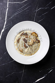 Risotto with porcini mushroom on plate on dark marble table background copy space