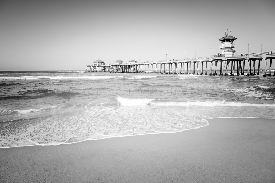 Huntington Beach Pier Black and White Photo