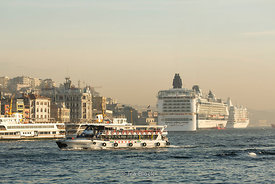 Ferries and cruise ships in the Bosphorus near Istanbul.