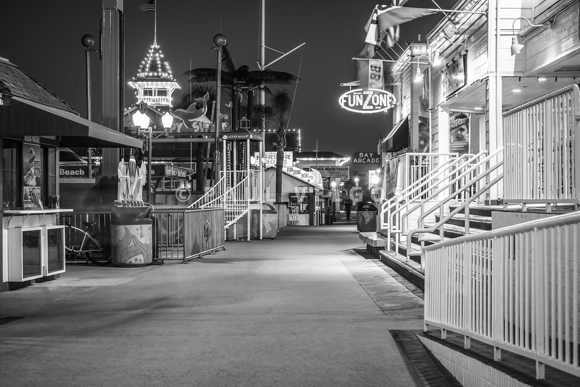 Newport Balboa Fun Zone Black and White Picture