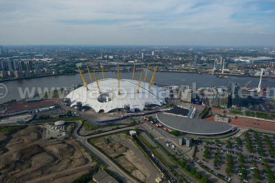 Aerial view of the O2 Arena, Greenwich, London