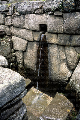Detail of water channel and ritual bath, Machu Picchu, Peru