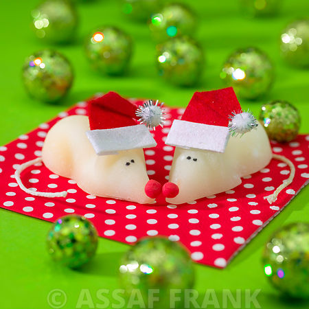 Christmas mice wearing Santa hat with marbles around