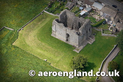 .aerial photograph of Bowes Castle built on the site of the Roman fort Lavatrae in Bowes County Durham, England UK