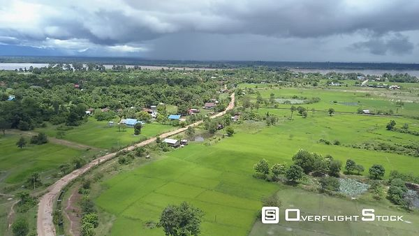 Aerial view of Rice Paddy of Champassak, filmed by drone, Laos