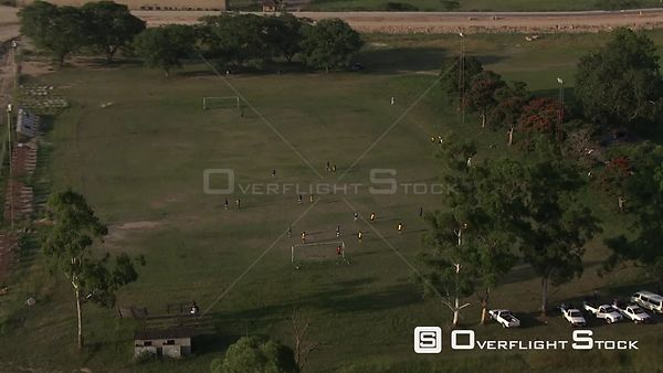 Aerial shot of a group of people playing soccer Nelspruit Mpumalanga South Africa