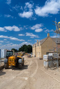 Houses being built on a green field site near Broadway in the Cotswolds, UK.