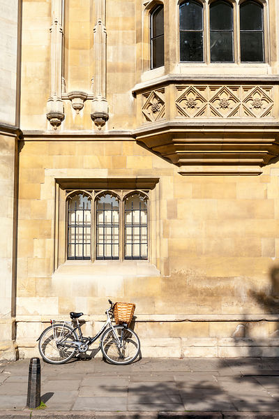 UK - Cambridge - A student's bicycle parked on a Cambridge street, Cambridge University