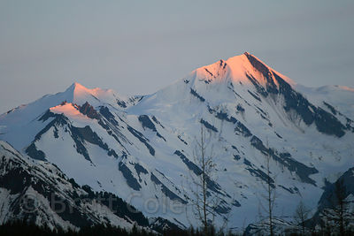 Late light on a mountain in the Chugach National Forest, Alaska