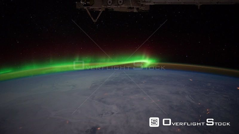 Time-Lapse from ISS over  USA Aurora Borealis 08 Feb 2012
