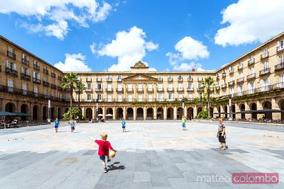 Children playing soccer in Plaza Mayor, Bilbao, Spain