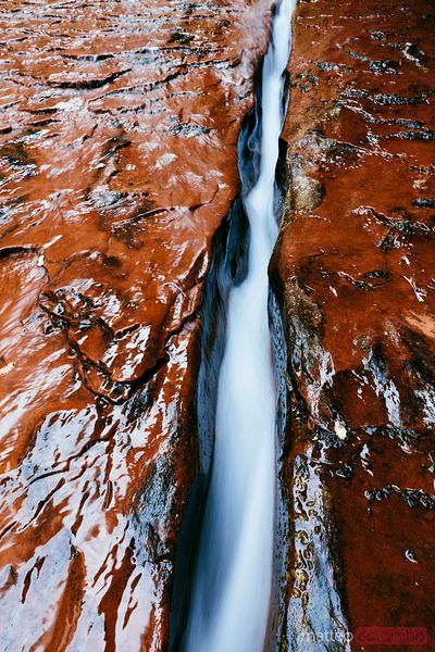 The Crack with water flowing, Zion, Utah, USA