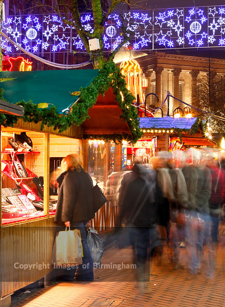 The German Market in Birmingham City Centre at Christmas.
