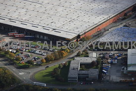 Runcorn aerial photograph of Whitehouse Industrial Estate showing the front of the B & Q wharehouse