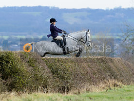 Jane Shears jumping a hedge above Wilson's covert