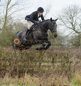 Hilary Butler jumping a hedge near Mrs Wilson's covert