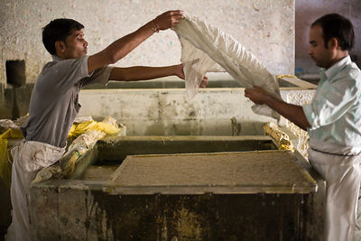 India - Jaipur - Workers making paper at a factory in Sanganer