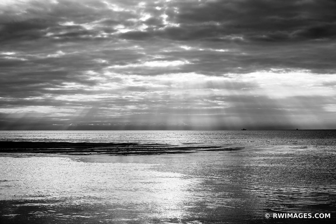 SUNSET ROCK HARBOR ORLEANS CAPE COD BLACK AND WHITE SEASCAPE