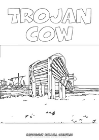Colouring-In Page: Trojan Cow