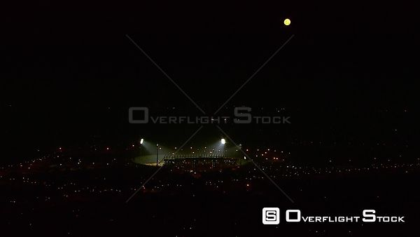 Aerial of the Royal Bafokeng Stadium in Rustenburg, at night. Rustenburg North West South Africa