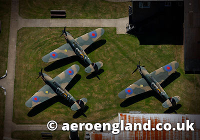 aerial photograph of Hawker Hurricane Fighter aircraft  at the Battle of Britain Museum in Hawkinge  Kent England UK