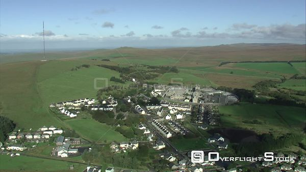 Aerial view of Princetown, Dartmoor National Park, Devon, England, UK, October 2015.