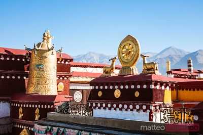 Decorations on the roof of Jokang temple, Lhasa, Tibet