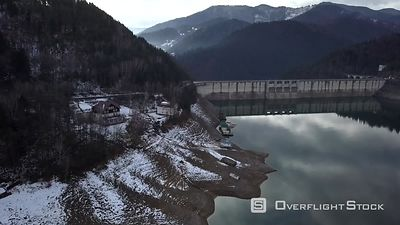 The Dam of Lake Lacul Rosu, Filmed by Drone in Winter, Moldavia, Romania