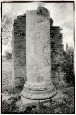 Roman column at Hadrian's Villa at Tivoli, Italy