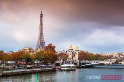 River Seine and Eiffel tower at sunrise, Paris, France
