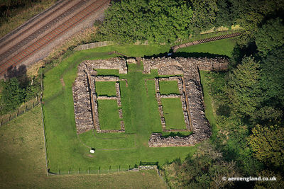 aerial photograph of Milecastle 48 on Hadrian's Wall  Cumbria England UK