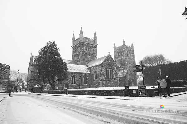 Wimborne Minster in  the Snow