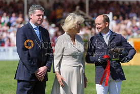 Michael Jung receiving his prize from the Duchess of Cornwall - show jumping phase,  Mitsubishi Motors Badminton Horse Trials, 6th May 2013.